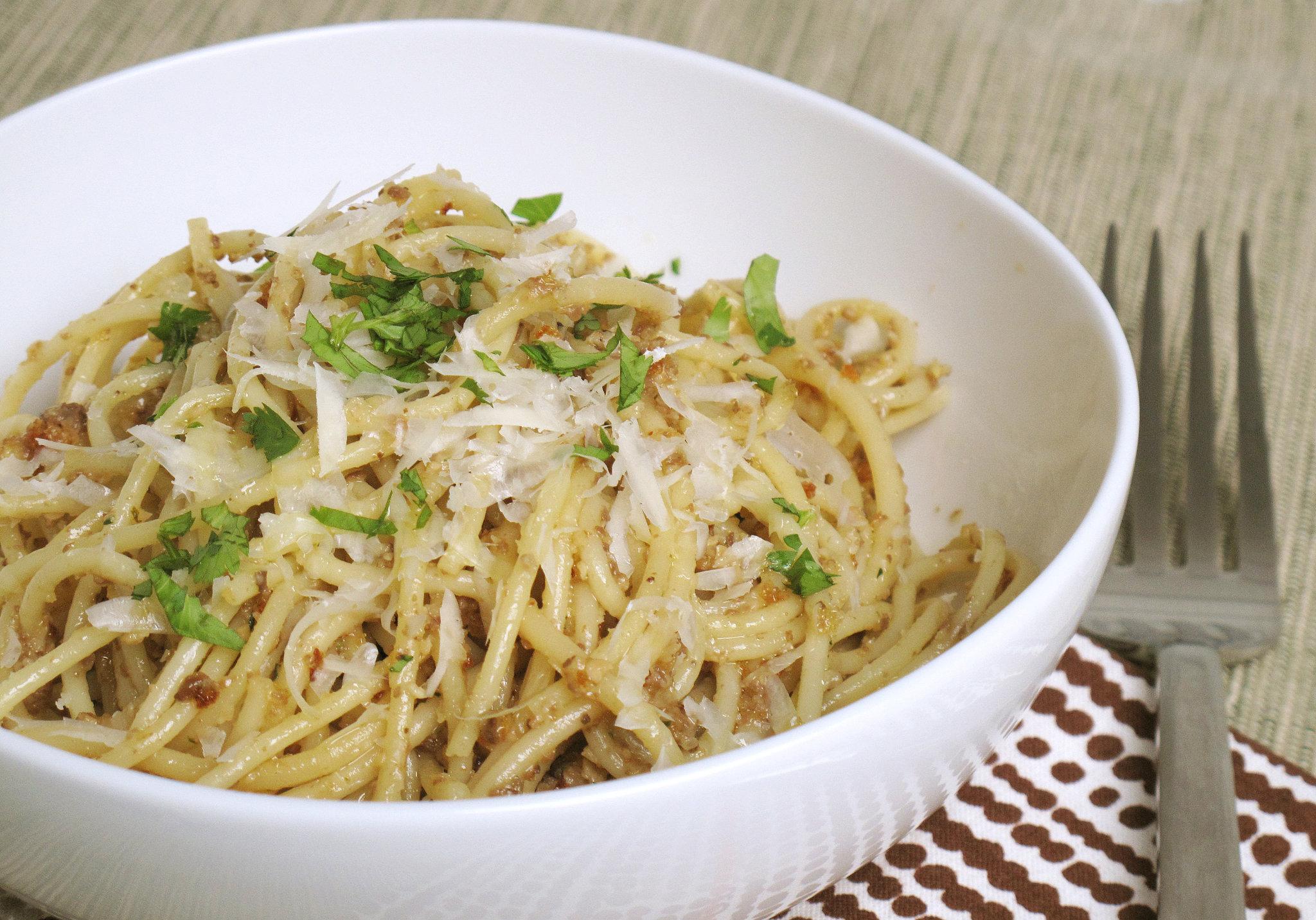 Pasta With Morel Shallot Pesto