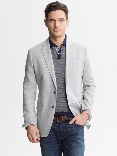Tailored Grey Linen-Cotton Blazer