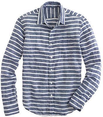 Slim Irish linen shirt in broad stripe
