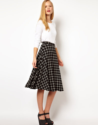 ASOS Midi Skirt In Ponte Check