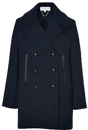 VANESSA BRUNO Navy Wool Twill Coat