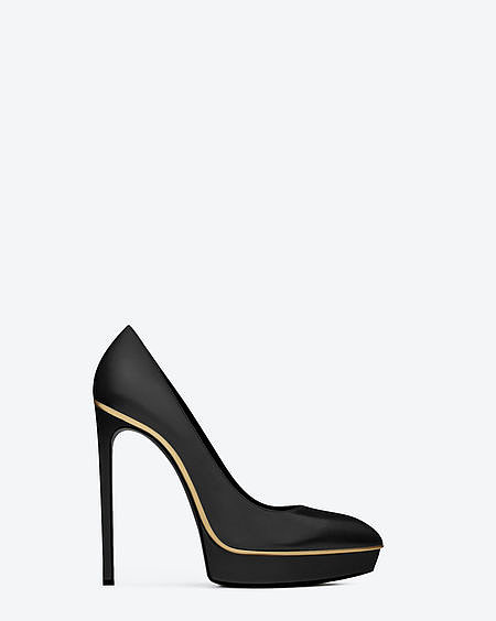 Janis pump with gold-toned trim and calfskin leather ($825).