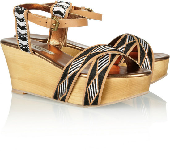 12th Street by Cynthia Vincent Dabney embroidered washed-leather wedge sandals