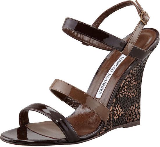 Manolo Blahnik Villano Ankle-Wrap Wedge Sandal, Brown