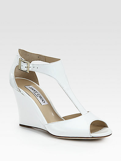 Jimmy Choo Token Patent Leather T-Strap Wedge Sandals