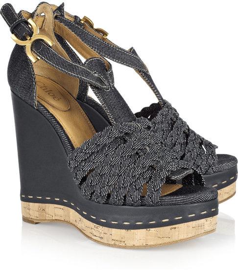 Chloé Denim wedge sandals