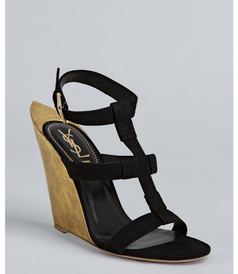 Yves Saint Laurent black and gold pointed heel wedge sandals