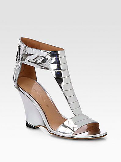 Sigerson Morrison Ruby Metallic Leather Wedge Sandals