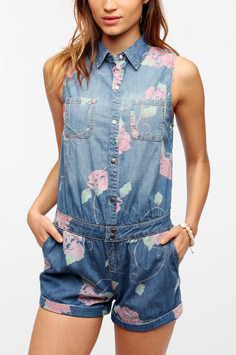 Pins And Needles Sleeveless Chambray Rose Romper