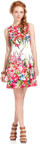 London Times Dress, Sleeveless Floral-Print A-Line