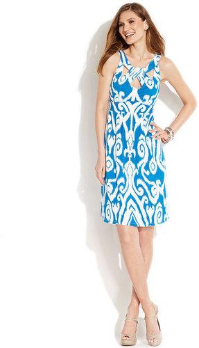 INC International Concepts Dress, Sleeveless Cutout-Front Ikat-Print