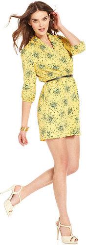 Kensie Dress, V-Neck Three-Quarter Floral-Print