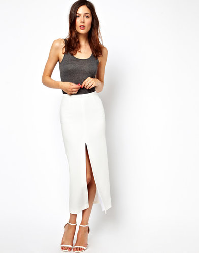 ASOS Skirt With Split Front and PU Waistband