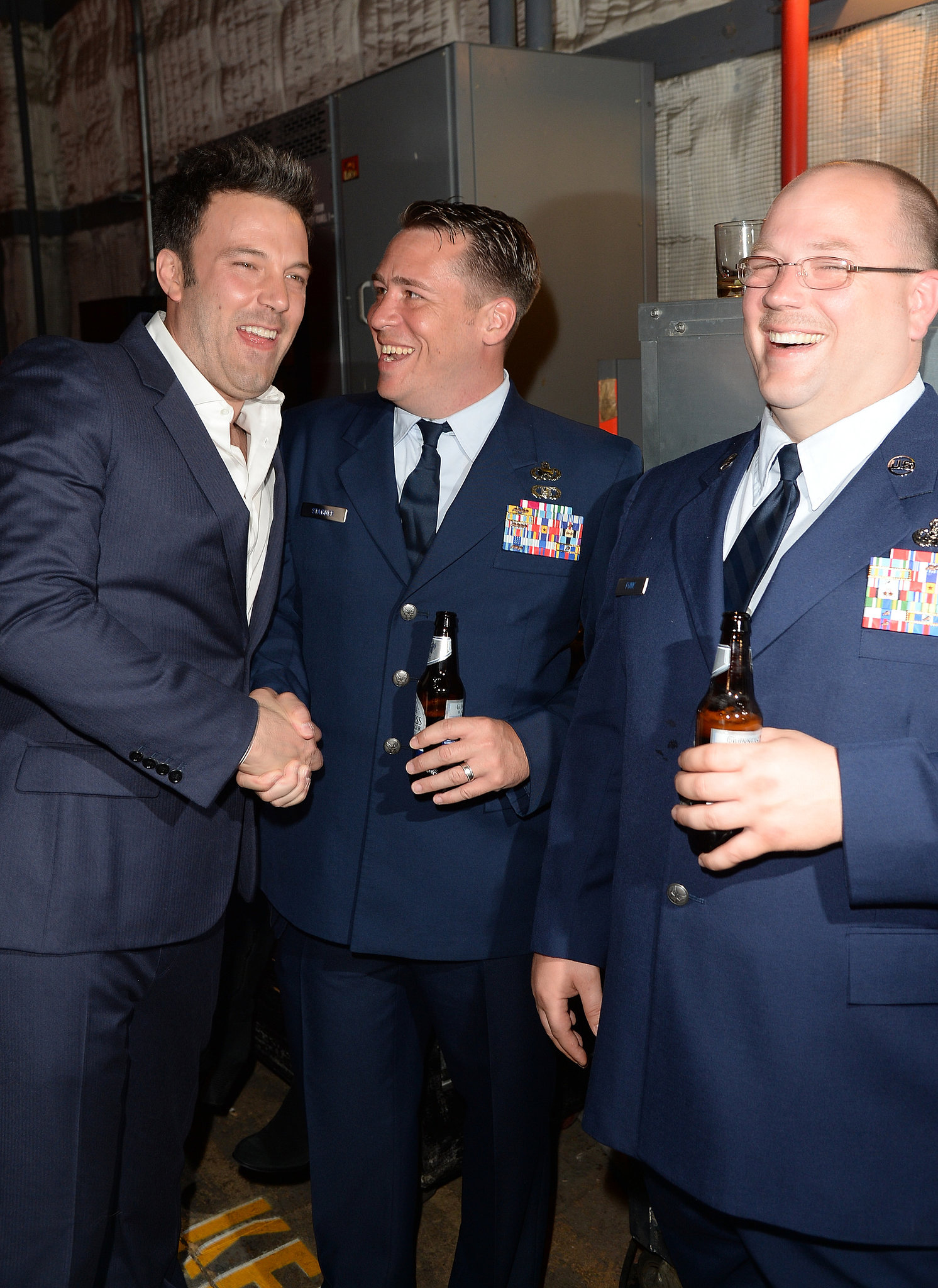Ben Affleck laughed with servicemen backstage at the Guys Choice Awards.