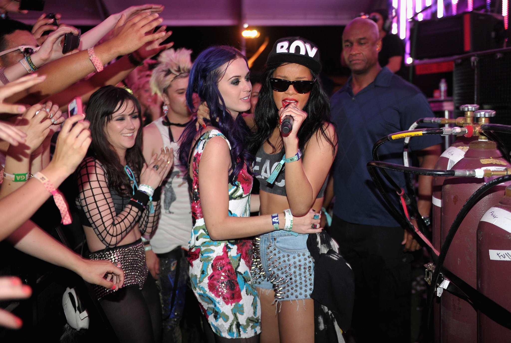 Rihanna and Katy Perry are such good friends that Rihanna was a part of Katy's small bachelorette party back in 2010. They managed to catch up at Coachella in 2012, and they love to get together whenever their busy schedules allow.