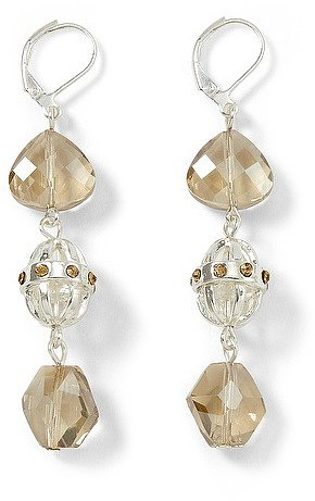 Silvertone Champagne Triple-Drop Earring
