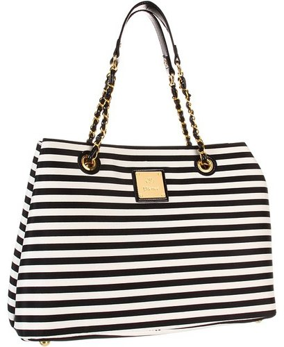 J. Renee - Striped Tote (Black/White) - Bags and Luggage