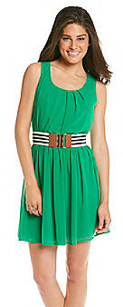 A Byer A. Byer Juniors' Green Chiffon Belted Dress