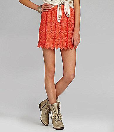 Chelsea & Violet Elastic-Waist Lace Skirt