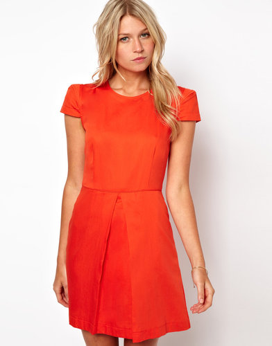 ASOS A-Line Dress With Short Structured Sleeves