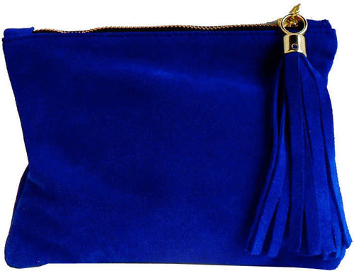 Mini Suede Clutch - royal blue