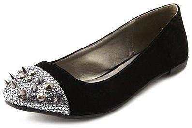 Spiked-Toe Velvet Flat