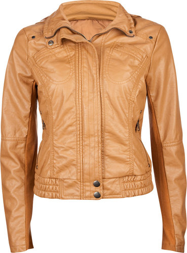 FULL TILT Knit Inset Womens Hooded Faux Leather Jacket