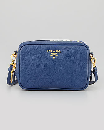 Prada Saffiano Mini Zip Crossbody Bag, Blue