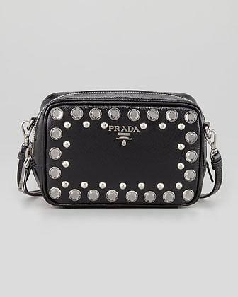 Prada Saffiano Studded Mini Zip Crossbody Bag, Black