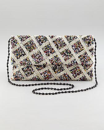 Moyna Crisscross-Beaded Flap-Top Clutch Bag