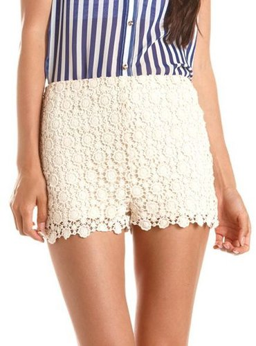 High Waisted Crochet Short