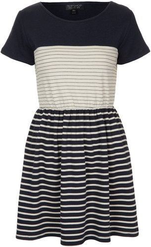 Contrast Stripe Skater Dress