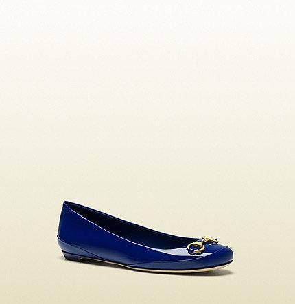 Carlie Deep Blue Patent Leather Horsebit Ballet Flat Flat