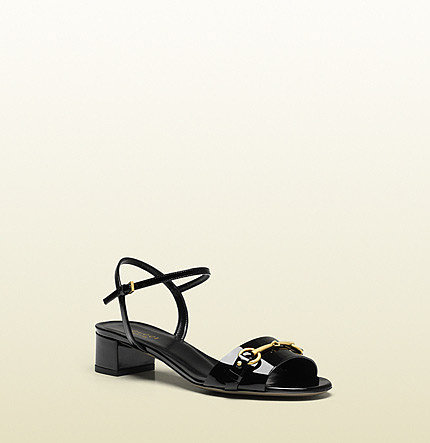 Ursula Black Patent Leather Low-Heel Sandal