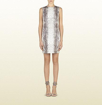 Grey Animalier Karung Motif Printed Leather Dress