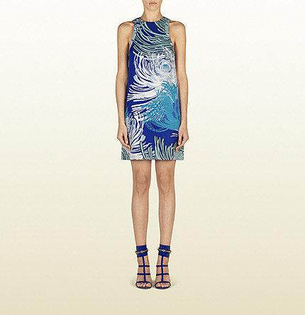 Blue Sapphire Dahlia Print Silk Georgette Tunic Dress
