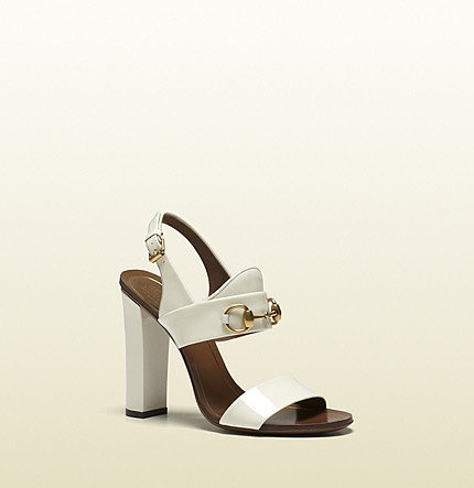 Alyssa Off-White Patent Leather High-Heel Sandal