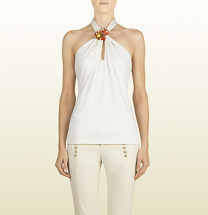 Natural White Halter Top With Coral Embellishment