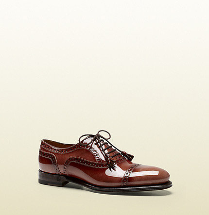 Cambridge Terracotta Shaded Patent Leather Brogue Oxford
