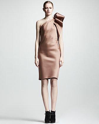 Lanvin One-Shoulder Duchess Satin Dress
