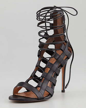 Aquazzura Amazon Lace-Up Ankle-Wrap Sandal