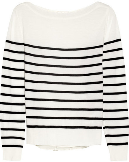 CLU Striped wool-jersey and silk-chiffon sweater