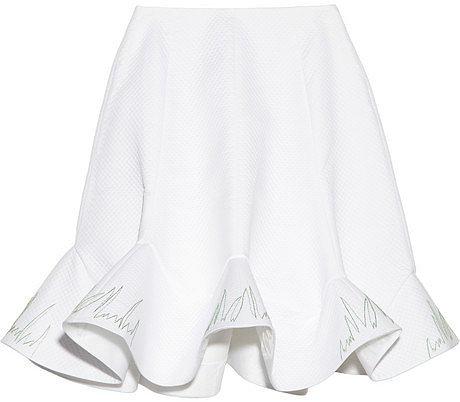 Vika Gazinskaya Embroidered quilted cotton skirt