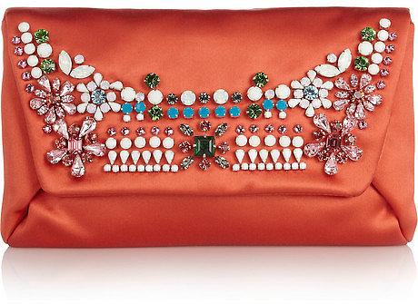 Lanvin Mai Tai crystal-embellished satin clutch