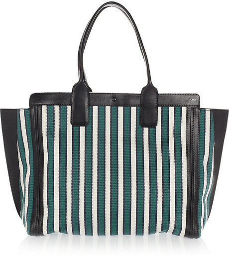 Chloé The Alison cotton and leather shopper