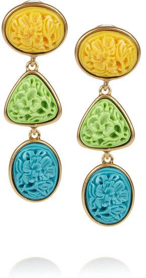 Oscar de la Renta Gold-plated carved cabochon clip earrings