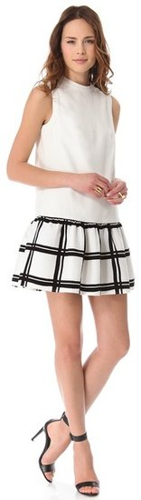 Tibi Drop Waist Checker Dress