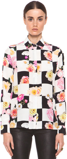 MSGM Floral Checkered Blouse in Black & White