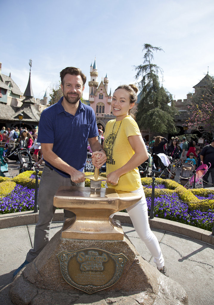 Jason Sudeikis and Olivia Wilde tried their hand at removing the Sword in the Stone during a March 2013 trip to Disneyland.