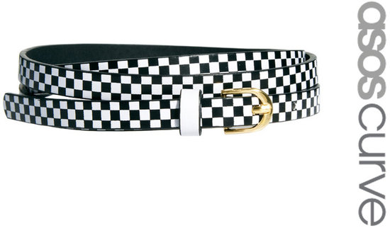ASOS CURVE Super Skinny Waist Belt With Checkerboard Print